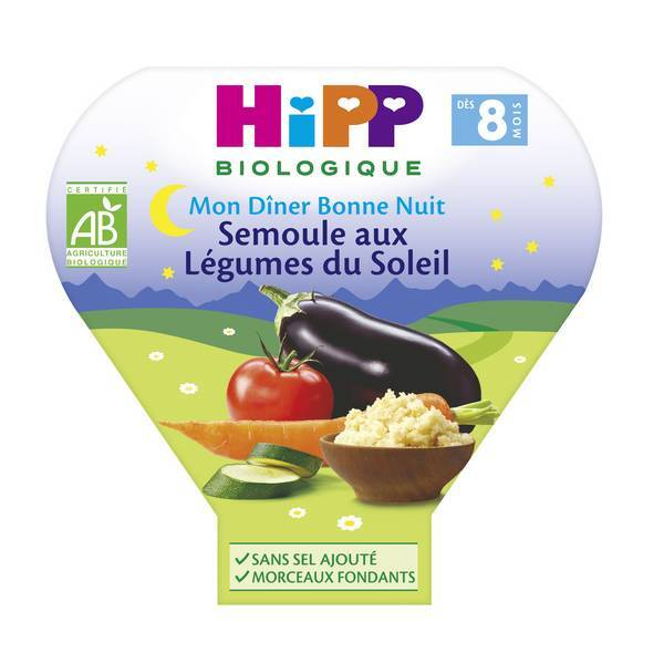 HiPP - 1 assiette semoule aux légumes du soleil 8 mois 200g
