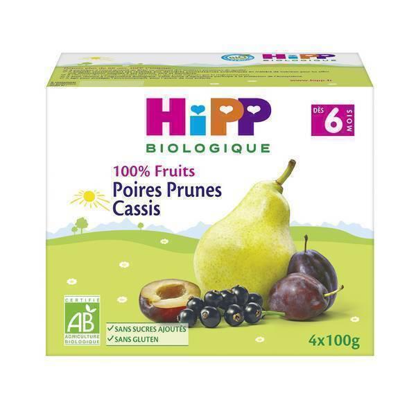 Hipp - Coupelles Poires Prunes Cassis 4x100g, dès 6 mois, de HiPP