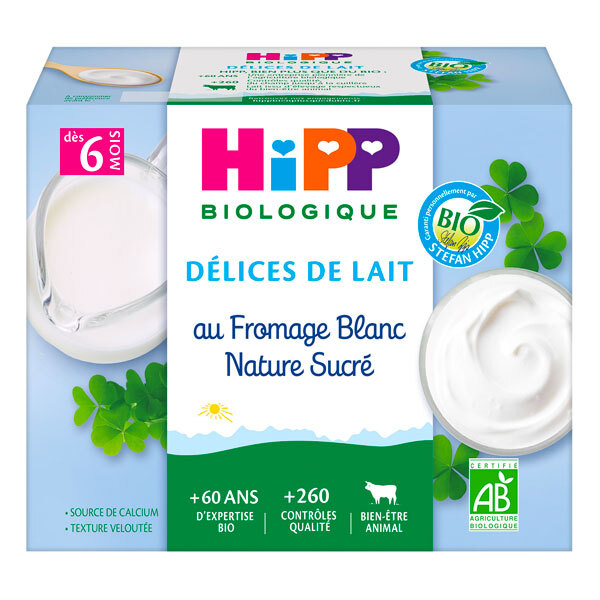 HiPP - Fromage blanc nature sucré dès 6 mois - 4x100g