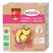 Babybio - Pack de 4 Gourdes Pomme Abricot Banane, dès 6 mois