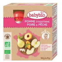 Babybio - 4 Gourdes Pomme Poire Pêche Dès 6 mois
