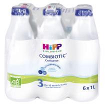 Hipp - Pack de 6 lait de croissance Combiotic 3 dès 10 mois 1L
