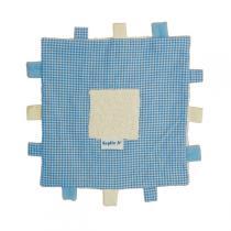 Keptin-Jr - Doudou Carré à étiquettes Bleu pastel