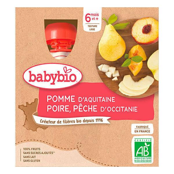 Babybio - Pack de 4 Gourdes Pomme Poire Pêche, dès 6 mois
