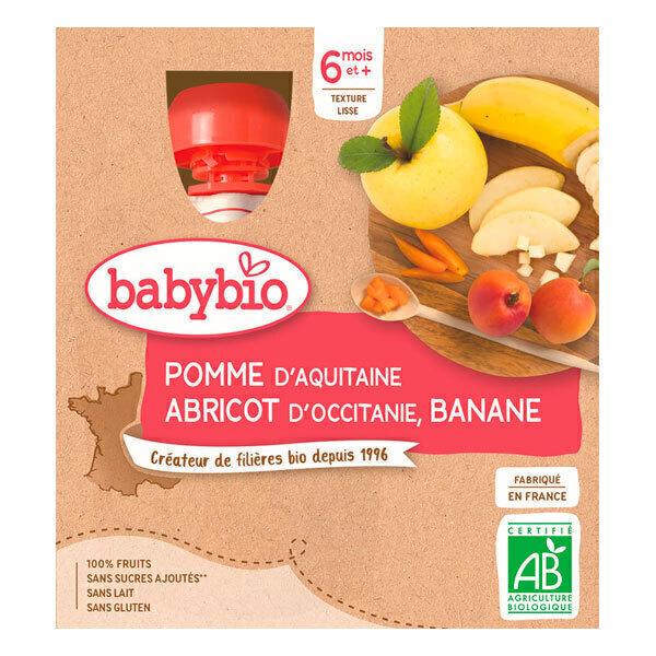 Babybio - Gourdes pomme abricot banane 4 x 90g - Dès 6 mois