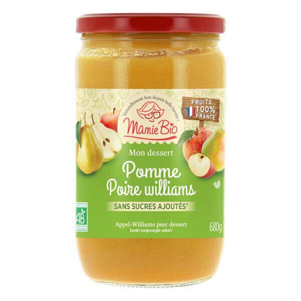 Mamie Bio - Purée pommes France & poire william's sans sucres ajoutés 680g