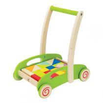 Hape - Chariot de marche avec cubes en bois