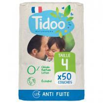 Tidoo - 50 Couches T4 7-18kg Hypoallergéniques Nature