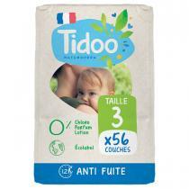 Tidoo - 56 Couches T3 4-9kg Hypoallergéniques Nature