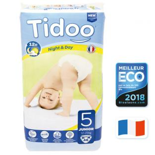 Tidoo - 46 Disposable Night & Day Nappies - Size 5 Junior 12-25kg
