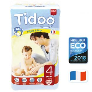 Tidoo - 50 Disposable Night & Day Nappies - Size 4 Maxi 7-18kg