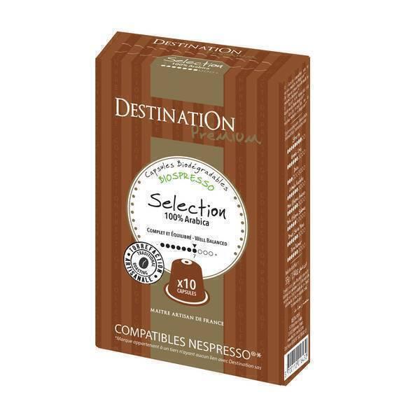 Destination - Café Selección Puro arábica Bio x10 Cápsulas