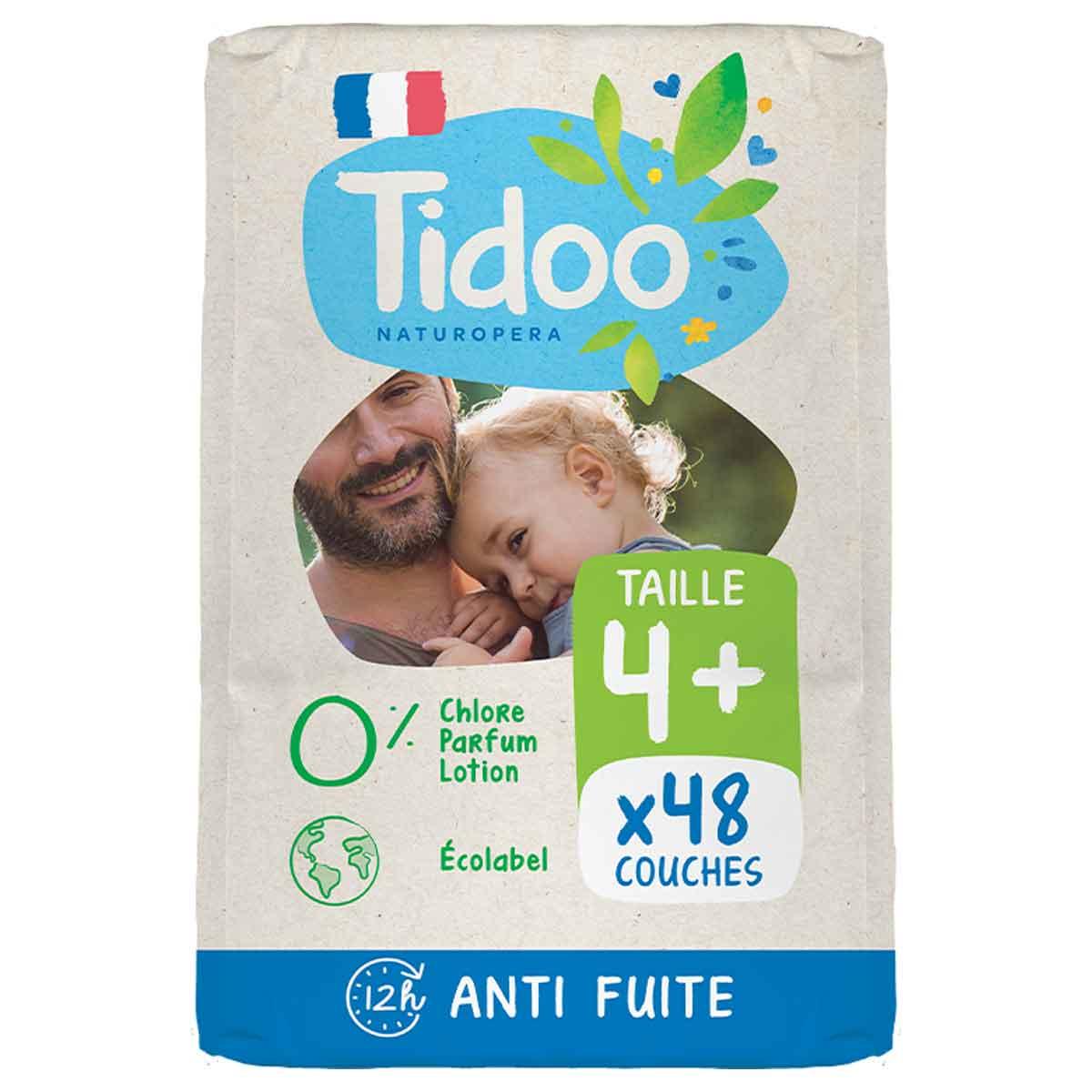 Tidoo - 48 Couches T4+ 9-20kg Hypoallergéniques Nature