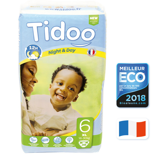 Tidoo - 38 Disposable Night & Day Nappies - Size 6 XL 16-30kg