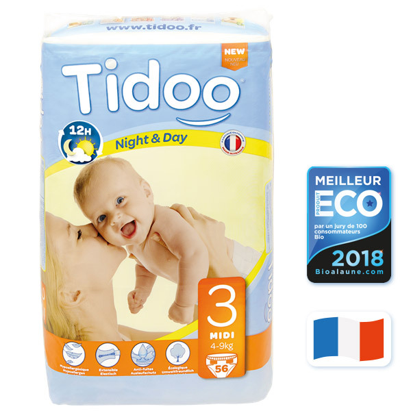 Tidoo - 56 Disposable Night & Day Nappies - Size 3 Midi 4-9kg