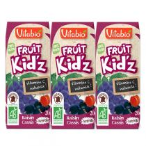 "Vitabio - Jus de Fruits en briques, ""Fruit Kid'z Rouges"", Pomme Raisin"