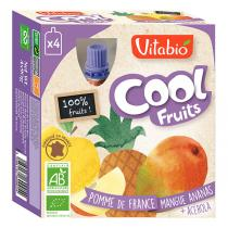 Vitabio - Compote bio 100 % fruits en mini gourde, Cool Fruit, 4x90g
