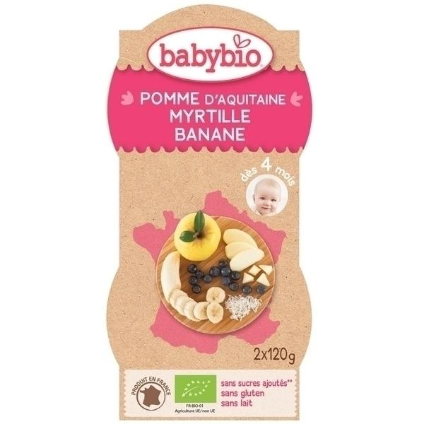 Babybio - BabyBio Pomme Myrtille Banane 2x120g