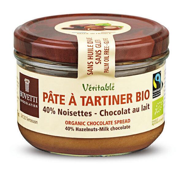 Bovetti Chocolats - Pâte à tartiner chocolat au lait noisettes 200g