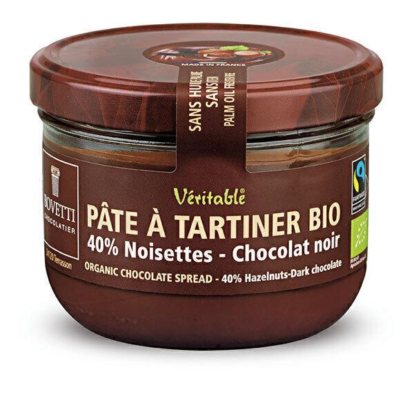 Bovetti Chocolats - Pâte à tartiner chocolat noir noisettes 200g