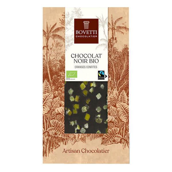 Bovetti Chocolats - Tablette chocolat noir aux oranges confites 100g