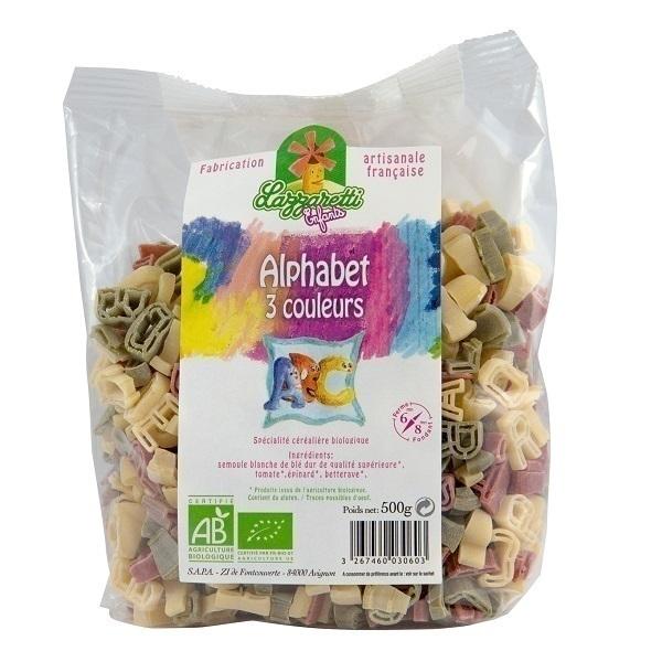 Lazzaretti - Pâtes alphabet 3 couleurs 500g