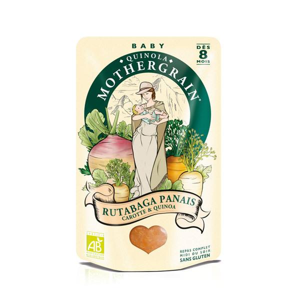 Quinola Mothergrain - Plat rutabaga panais carotte quinoa bio dès 8 mois 190gr