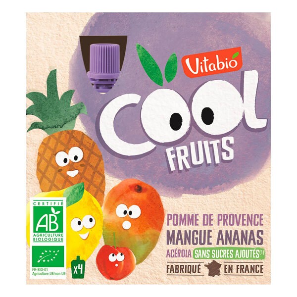 Vitabio - Cool fruits pomme mangue ananas - gourdes de fruits - 4x90g