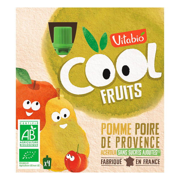 Vitabio - Cool fruits pomme poire - gourdes de fruits - 4x90g