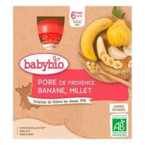 Babybio - 4 Gourdes Poire Banane Millet dès 6 mois