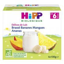 HiPP - Brassé Bananes Mangues Ananas dès 6 mois - 4 x 100g