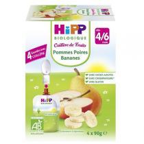Hipp - Cuillère de Fruits Pommes Poires Bananes 4 x 90 g