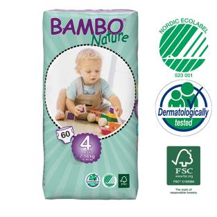 Bambo Nature - 60 pañales desechables T4 Maxi 7-18 Kg