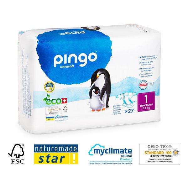 Pingo - 27 couches ecologiques jetables T1 2-5 kg