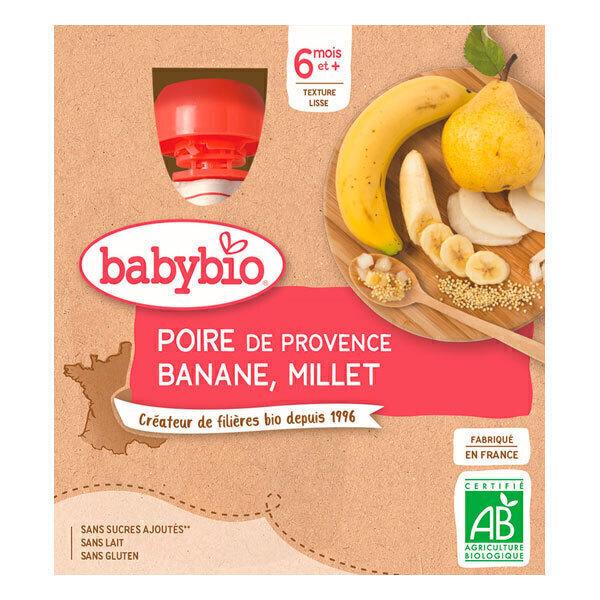 Babybio - Gourdes Poire Banane Millet 4 x 90g - Dès 6 mois
