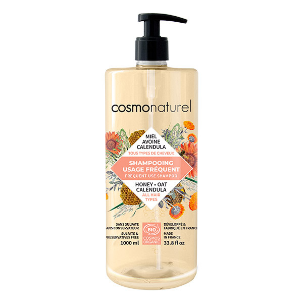 Cosmo Naturel - Shampoing usage fréquent Miel Avoine Calendula 1L
