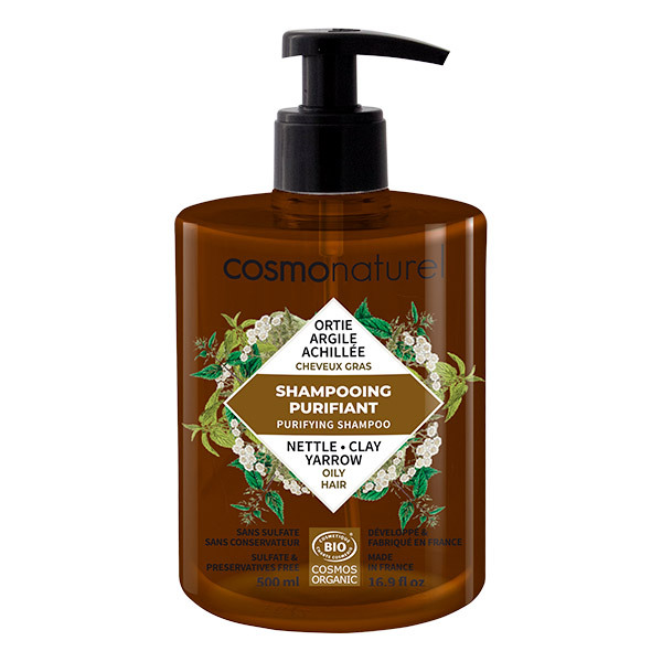 Cosmo Naturel - Shampooing purifiant cheveux gras Argile Ortie 500ml