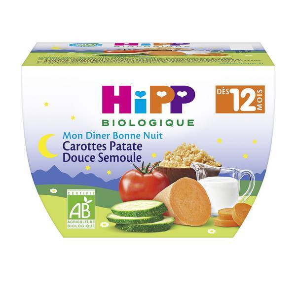 Hipp - Carottes Patate Douce Semoule 220 g