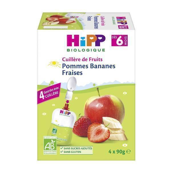 HiPP - Cuillère de fruits pommes bananes fraises 4x90g