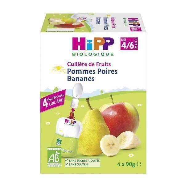 HiPP - Cuillère de fruits pommes poires bananes 4x90g