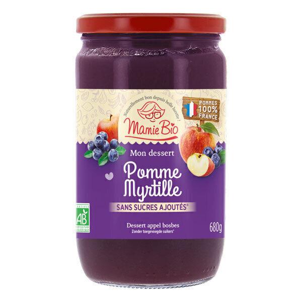 Mamie Bio - Purée pommes France & myrtilles sans sucre ajoutés 680g