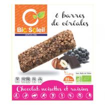 Bio Soleil - Hazelnuts & Raisins Cereal Bar with Fair Trade Chocolate x6