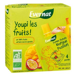 Evernat - Compote à boire, Mangue-Passion, 4x85g