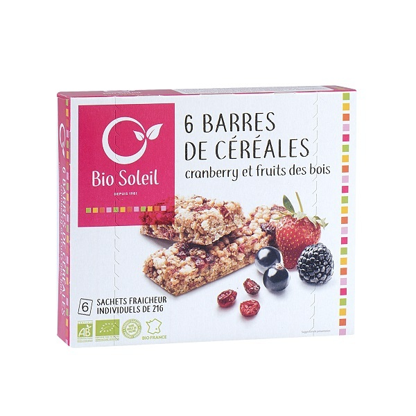 Bio Soleil - Cranberry & Red Berries Cereal Bar x6