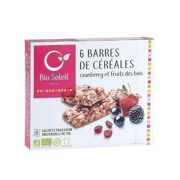 Bio Soleil - 6 barres cranberry fruits des bois 125g