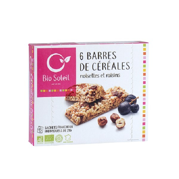 Bio Soleil - 6 Barres Noisettes&Raisins