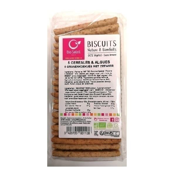 Bio Soleil - Biscuit 5 céréales algues 250g
