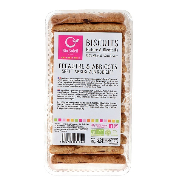 Bio Soleil - Biscuit épeautre abricot 250g