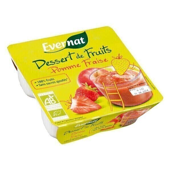 Evernat - Dessert de fruits pomme fraise 4x100g