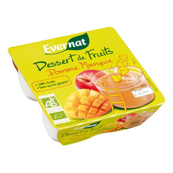 Evernat - Dessert de Fruits Pomme Mangue 4x100g